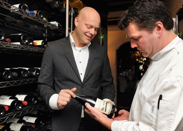 Sommelier Ronnie Brouwer (links) van De Kromme Dissel in Heelsum met chef-kok Tonny Berentsen.