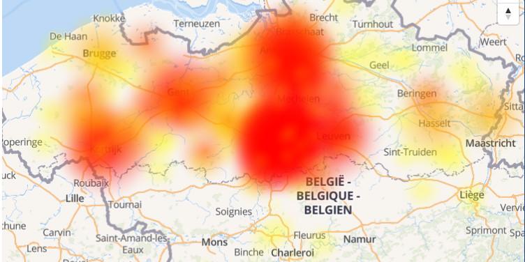 De heat map op alle storingen.be toont vooral veel meldingen uit Antwerpen en Brussel.