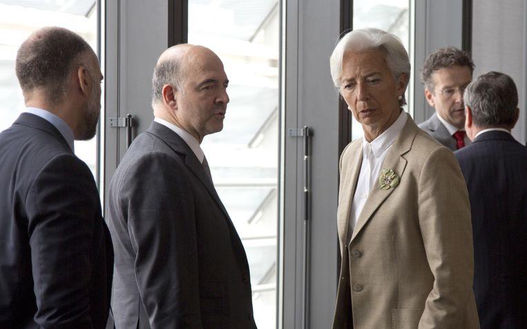 IMF-topvrouw Christine Lagarde bij de vergadering van de geldschieters vanmiddag.