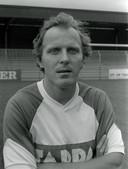 René van de Kerkhof als midden-dertiger en tweevoudig WK-finalist in het shirt van Helmond Sport, midden jaren tachtig.