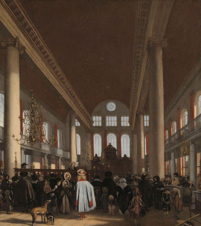 Interieur van de Portugese synagoge te Amsterdam, Emanuel de Witte, 1680. Beeld null