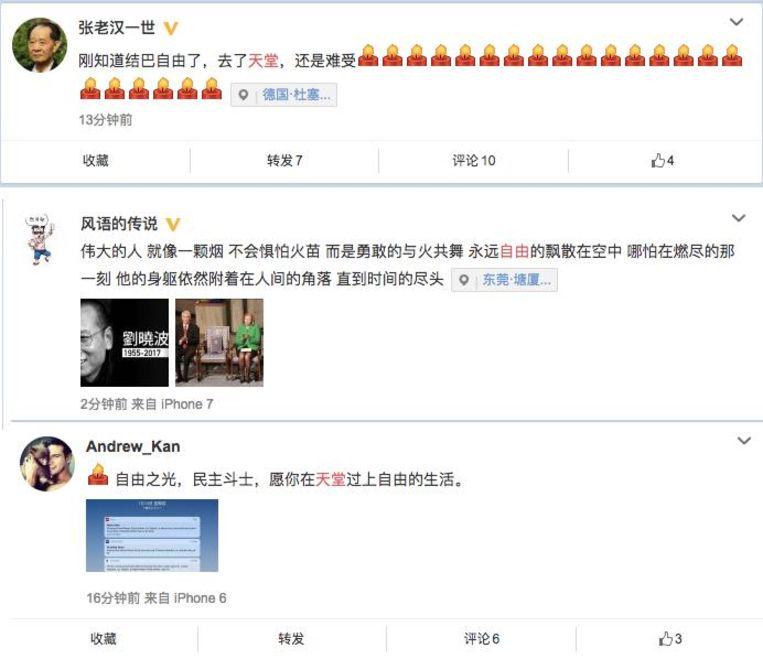 'Net gehoord dat stotteraar (bijnaam Liu Xiaobo, MV) vrij is. Hij is naar de hemel maar ik blijf het verdrietig vinden.', 'Fantastisch mens, net een sigaret. Niet bang voor het vuur, in plaats daarvan danst hij met het vuur. Nu zweeft hij voor eeuwig vrij in de lucht, zelfs als zijn lichaam de laatste minuut opbrandt blijft hij tot aan het einde der tijden ergens in een hoekje van deze wereld.' en 'Licht van vrijheid, vechter voor democratie, wens je dat je een vrij leven in de hemel leidt.' Beeld