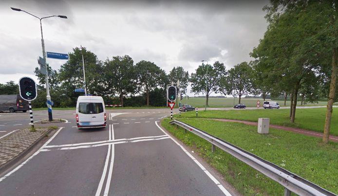 Verkeerslichten op de Tol bij Werkendam richting de Dijkgraaf Den Dekkerweg.