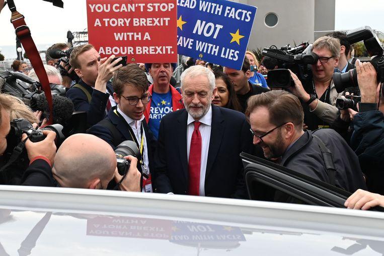 Labour-leider Jeremy Corbyn tijdens het partijcongres in Brighton. Beeld AFP