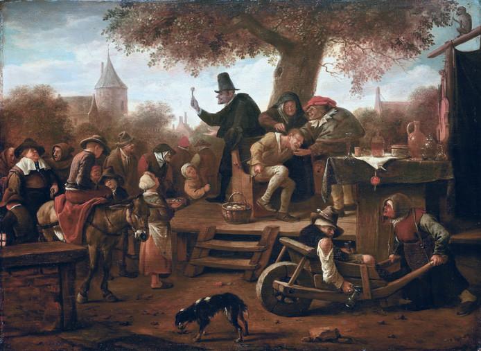 Een van de gestolen schilderijen uit het Frans Hals Museum:  'De kwakzalver' van Jan Steen