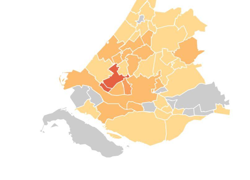 Hoe donkerder van kleur, hoe meer positieve testen per 100.000 inwoners. Zowel Maassluis als buurgemeente Midden-Delfland scoren hoog.