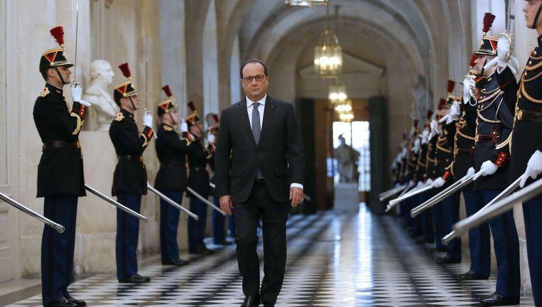 Hollande in aanloop naar zijn toespraak in Versailles maandag. Beeld afp
