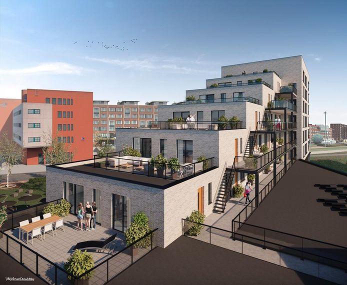 De Kampanje, nieuwbouwplan op de Kop van de Noordstraat, met 26 appartementen, bibliotheek en horecaruimte.