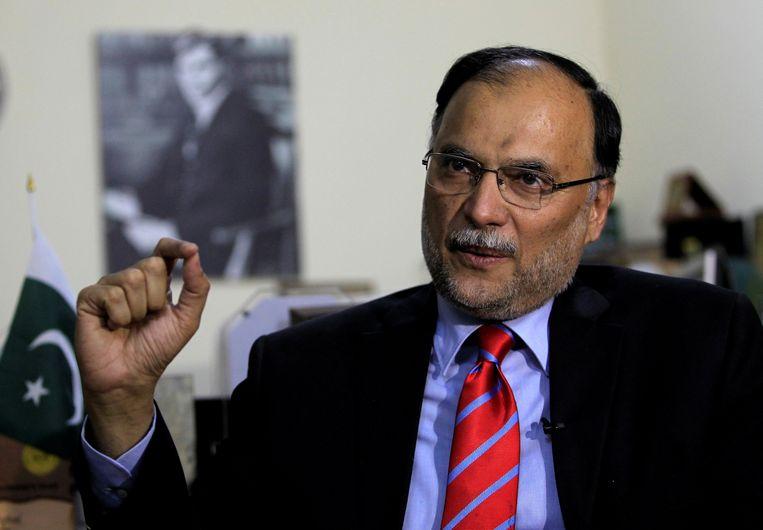 De Afghaanse binnenlandminister Ahsan Iqbal overleefde de aanslag.