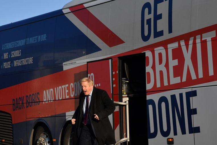 Johson verspreidt zijn 'Get Brexit Done-boodschap' aan de Britse kust.  Beeld null