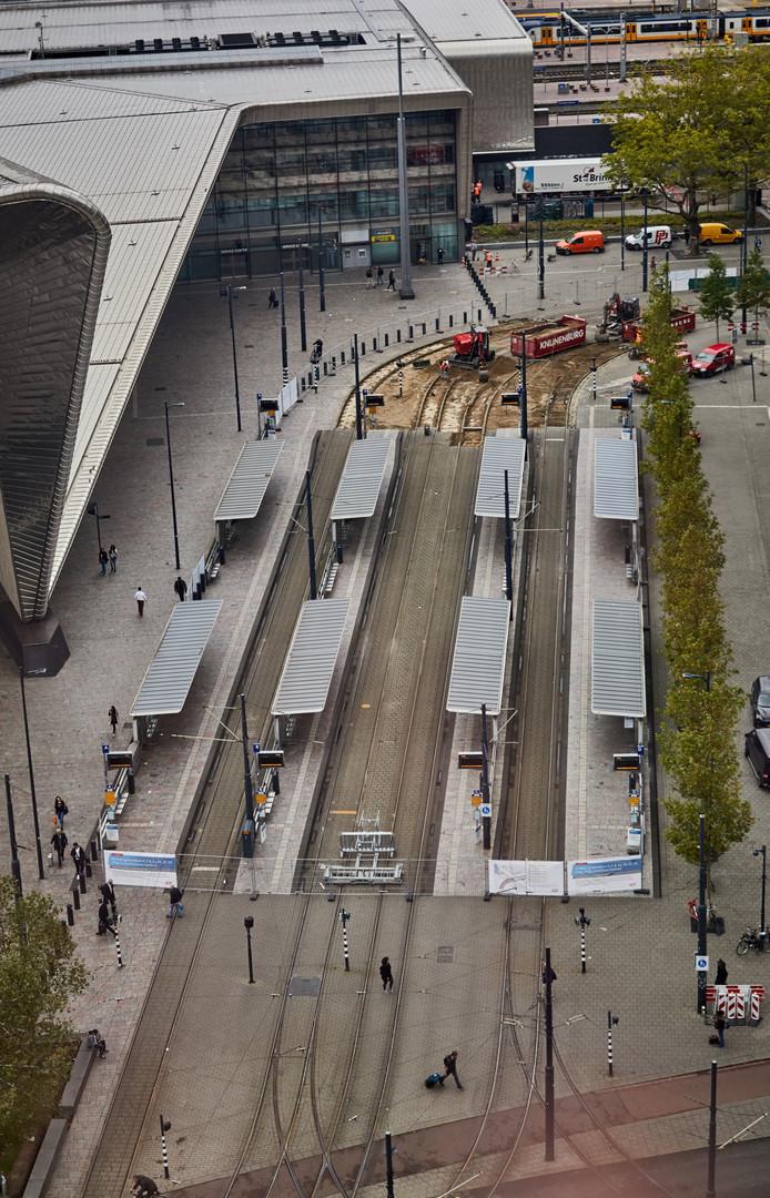 Het werk aan de tramrails bij CS duurt nog tot 20 oktober.