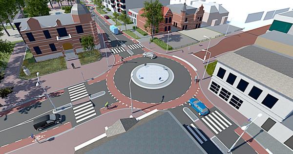De kruising bij Museum Jan Cunen (linksboven) wordt een rotonde.