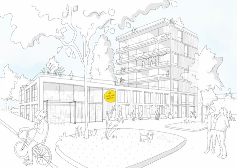 Een schets van woongroep De Nieuwe Meent in Amsterdam. Beeld Time to Access en Roel van der Zeeuw Architects