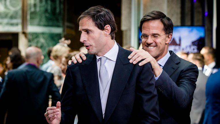 Minister Wopke Hoekstra van Financien en premier Mark Rutte. Beeld anp