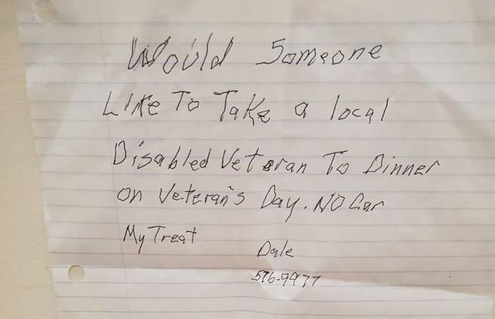 Het handgeschreven briefje van de oud-strijder Dale Flowers uit Maine.