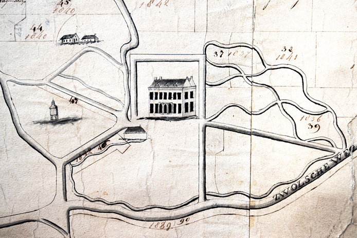 Detailopname van de landkaart met centraal de havezathe op landgoed De Oldenhof.