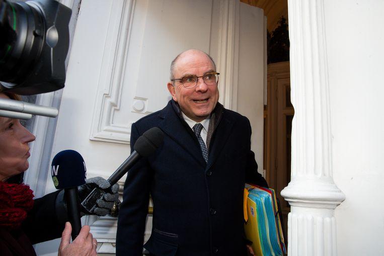 CD&V-vicepremier Koen Geens vanmorgen bij de start van de ministerraad.