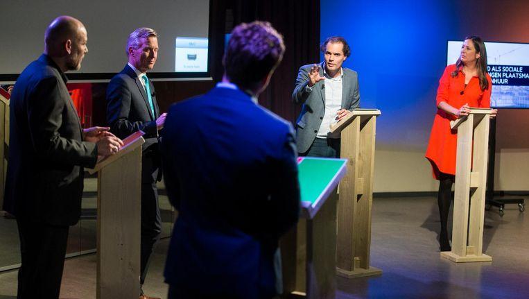 Lijsttrekkers in debat over Amsterdam. Zij dragen de volgende burgemeester voor, een kans voor politieke vernieuwing Beeld Maarten Brante