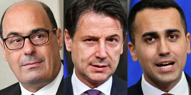 PD-partijleider Nicola Zingaretti, Giuseppe Conte en Luigi Di Maio van de Vijfsterrenbeweging.