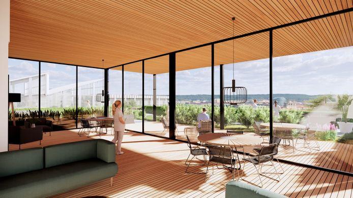 Zo ongeveer zou het uitzicht moeten zijn in de buitenruimte: even iets anders dan tl-balken, piepende apparatuur en systeemplafond.