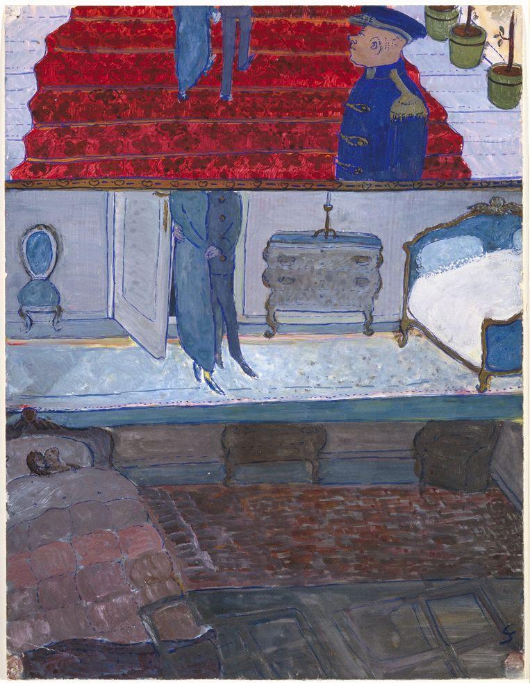De huwelijksnacht van de ouders van Charlotte, gouache uit Leven? of Theater? (1940-1942) van Charlotte Salomon. Beeld Collectie Joods Historisch Museum, Amsterdam © Stichting Charlotte Salomon