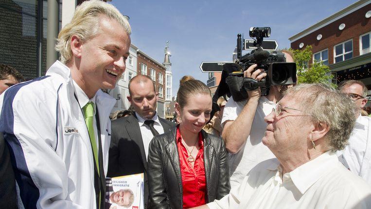 PVV-leider Geert Wilders op campagne in Spijkenisse, in 2010. Beeld ANP