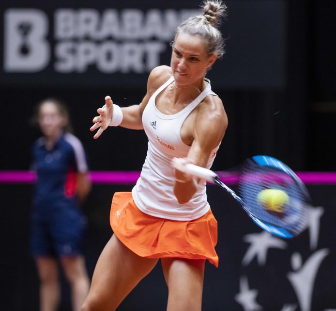 Arantxa Rus in haar partij tegen Bianca Andreescu (Canada) tijdens de eerste ronde van de Tennis Fed Cup