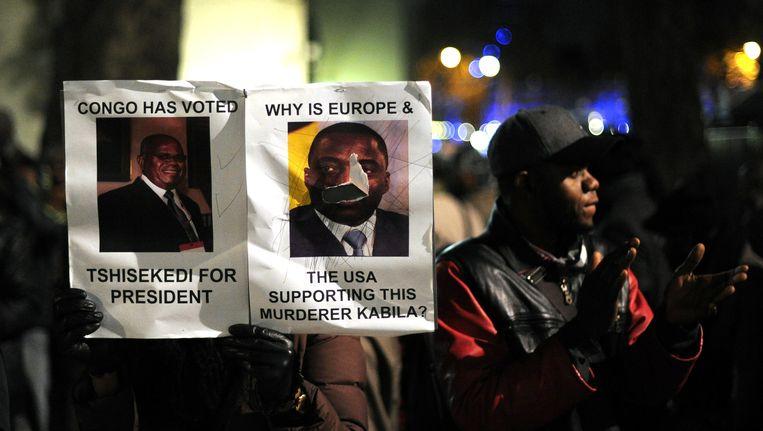 Congolezen in Londen protesteren tegen Kabila. Beeld AFP