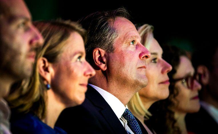 D66-leider Alexander Pechtold en Sigrid Kaag, minister van buitenlandse handel en ontwikkelingssamenwerking, tijdens het najaarscongres van de partij in Congrescentrum Brabanthallen. Beeld ANP