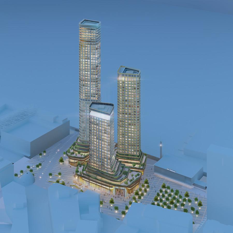 De nieuwste illustratie van de drie torens van District E, het plan voor het Stationsplein in Eindhoven. Maandag 1 juli is daarover een publieksbijeenkomst.