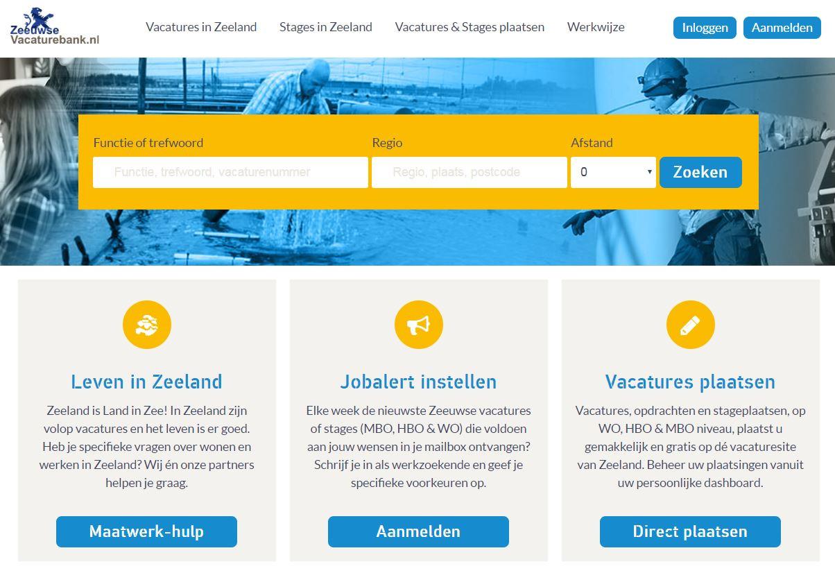 De nieuwe website voor werkzoekenden in Zeeland: ZeeuwseVacaturebank.nl.