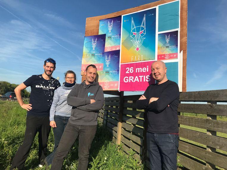 De organisatoren van FaRo (vlnr) Dimitry Moens, Fabienne Dobbels, Roderick Creyf en Hans Bousson