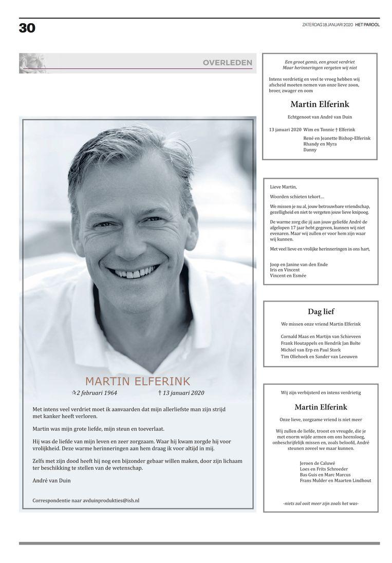 Rouwadvertentie Martin Elferink in Het Parool zaterdag 18 januari 2020. Beeld Het Parool