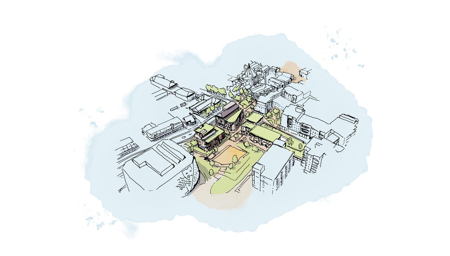Een schets van de toekomstige Spinde. (links onderin het gemeentehuis)