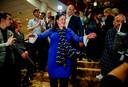 Annabel Nanninga tijdens de uitslagenavond van de Provinciale Statenverkiezingen en de waterschapsverkiezingen