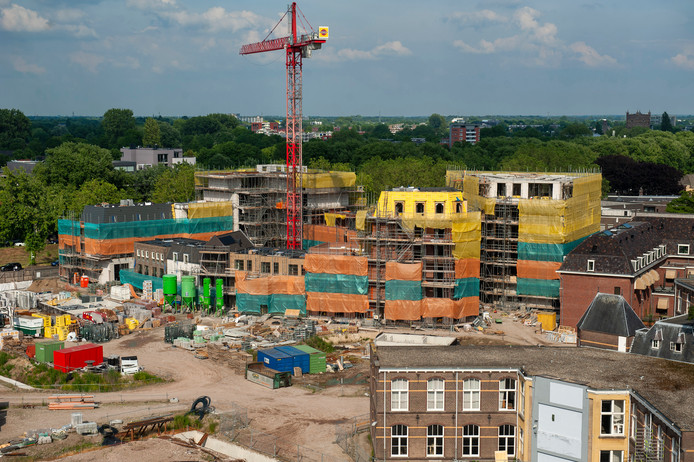 Nieuwbouw in het Gasthuiskwartier, het voormalig GZG-terrein in de binnenstad van 's-Hertogenbosch.