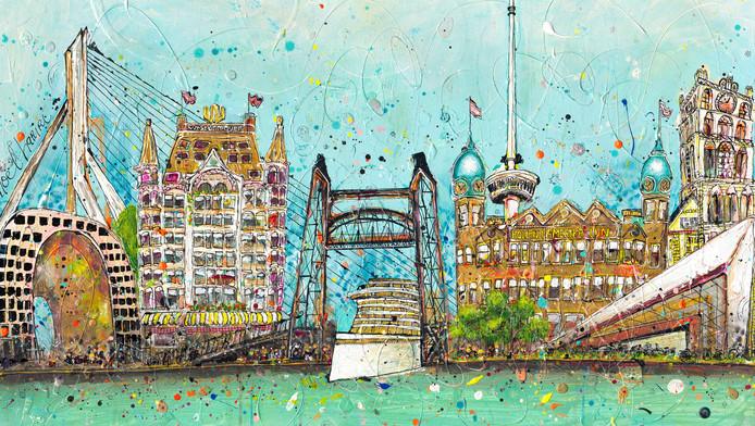 De Groningse kunstenares Noël Hariri tekende Rotterdam.