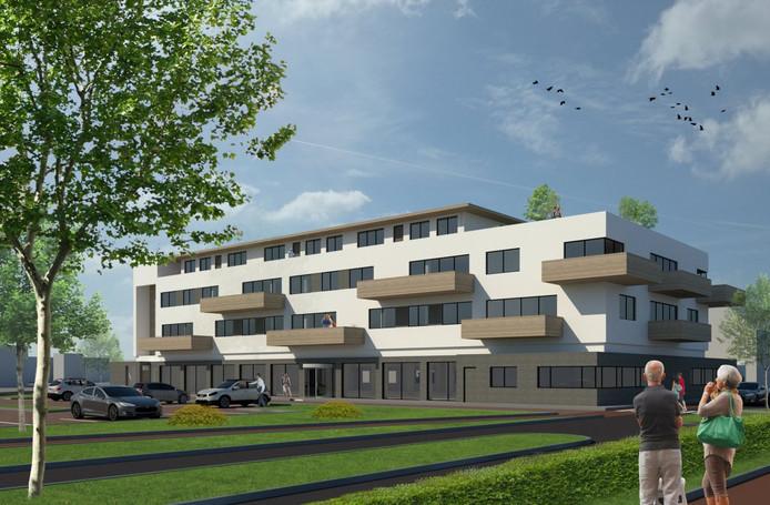 Artist Impression van de herontwikkeling van het voormalig Rabobankgebouw aan het stationsplein in Etten-Leur.