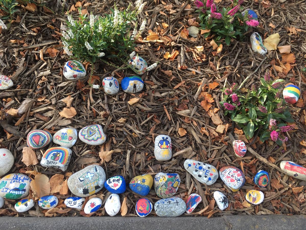 Met tekeningen en tekst versierde stenen die door leerlingen zijn neergelegd op de vlindertuin.