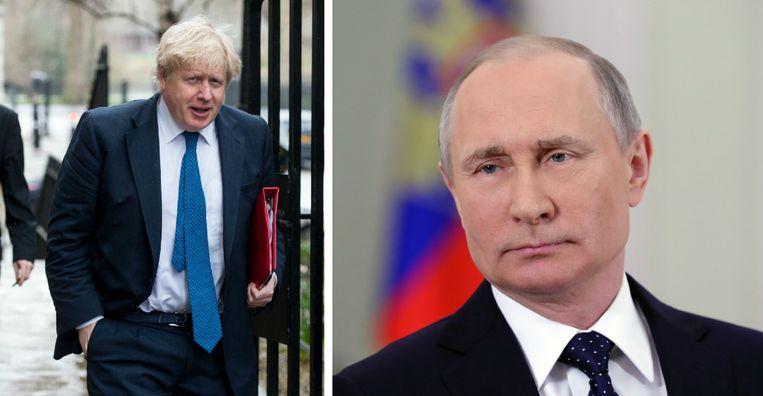 De Britse minister van Buitenlandse Zaken Boris Johnson (L) en de Russische president Vladimir Poetin (R).