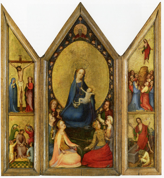 Drieluik door de meester van de Heilige Veronica uit 1410, Keulen, olieverf op houten paneel.