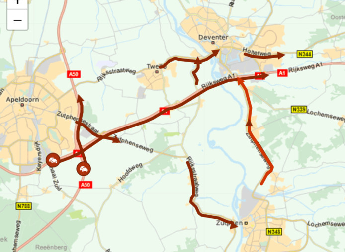 Rond 17.30 uur liep het verkeer rond Apeldoorn, Deventer en Zutphen vast door glas op de A1.