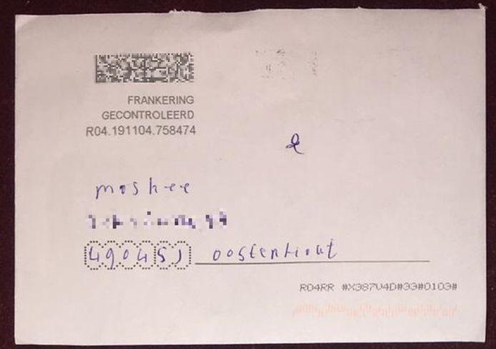 De post die de moskee kreeg, met daarin de getekende galg.