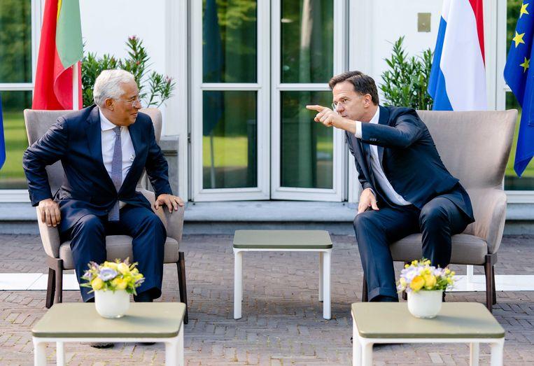Mark Rutte sprak maandag met de Portugese premier Antonio Costa in het Catshuis. Beeld ANP/Bart Maat