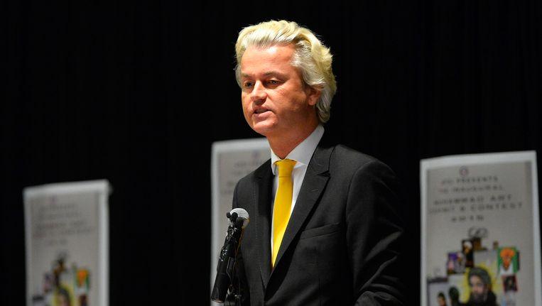 Geert Wilders was de hoofdspreker op de bijeenkomst. Hij had het gebouw vlak voor de schietpartij verlaten. Beeld EPA