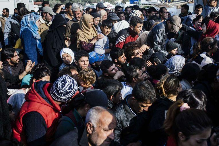 Een vluchtelingenopvangkamp op Lesbos, Griekenland. Beeld afp
