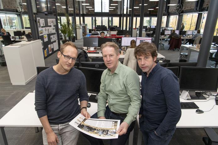 Het project Het Schone Oosten: Judah Boolink (links) , Niek Opten en Leo van Raaij (midden) kijken wat vervuiling is en wat het betekent voor ons