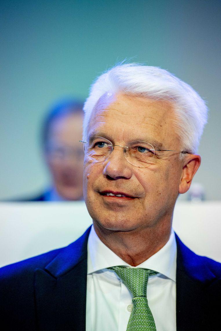 Bestuursvoorzitter Kees van Dijkhuizen van ABN AMRO  tijdens de algemene aandeelhoudersvergadering in het hoofdkantoor van de bank Beeld ANP/Robin Utrecht