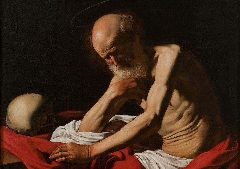 De mediterende Hieronymus van Caravaggio. Beeld