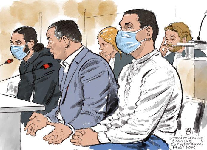 Ahmed B. (24) en Mouad M. (29) twee weken geleden tijdens de zitting in de extra beveiligde rechtbank in Rotterdam.